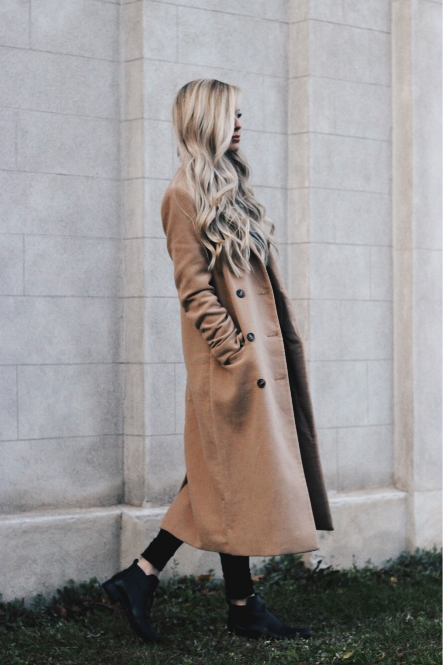 Camel Midi Coat, Chelsea Boots, Winter Outfit, Alex Gaboury