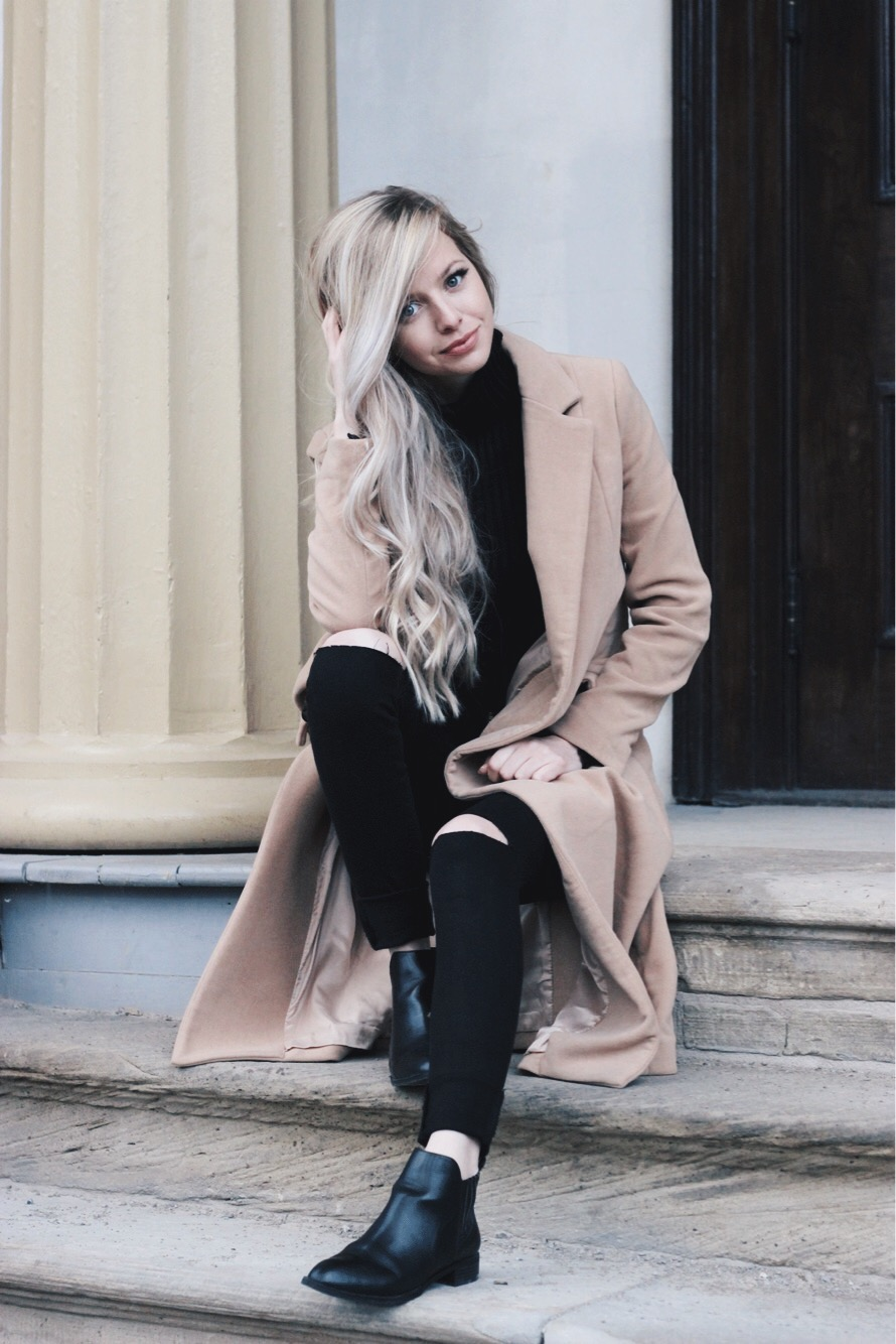 Perfect Winter Outfit, Midi Coat and Chelsea Boots, Alex Gaboury