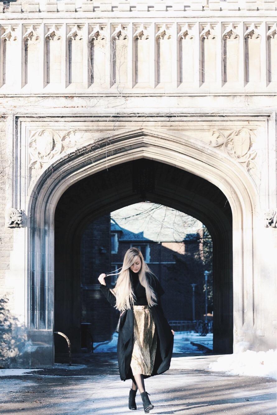 Statement Midi Metallic skirt, Winter Outfit, Alex Gaboury