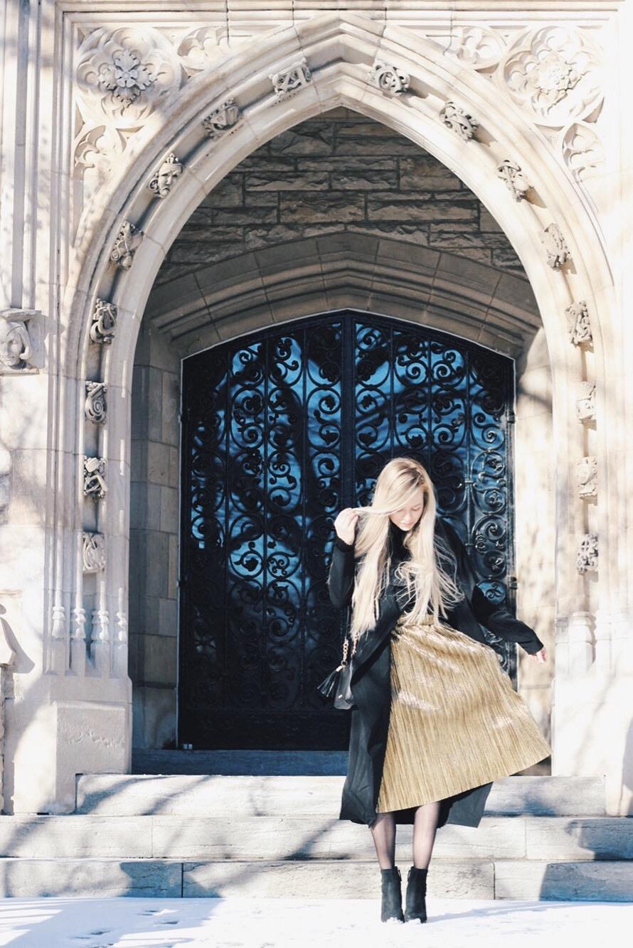 Statement Metallic skirt, Winter Outfit, Alex Gaboury