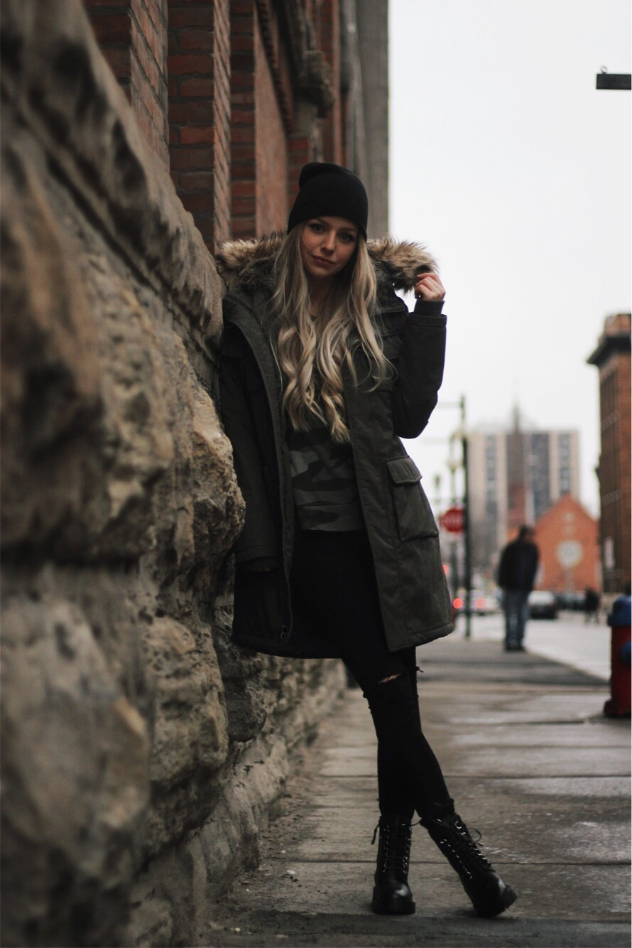 Casual Winter Outfit, Aritzia Parka, Combat Boots, Alex Gaboury