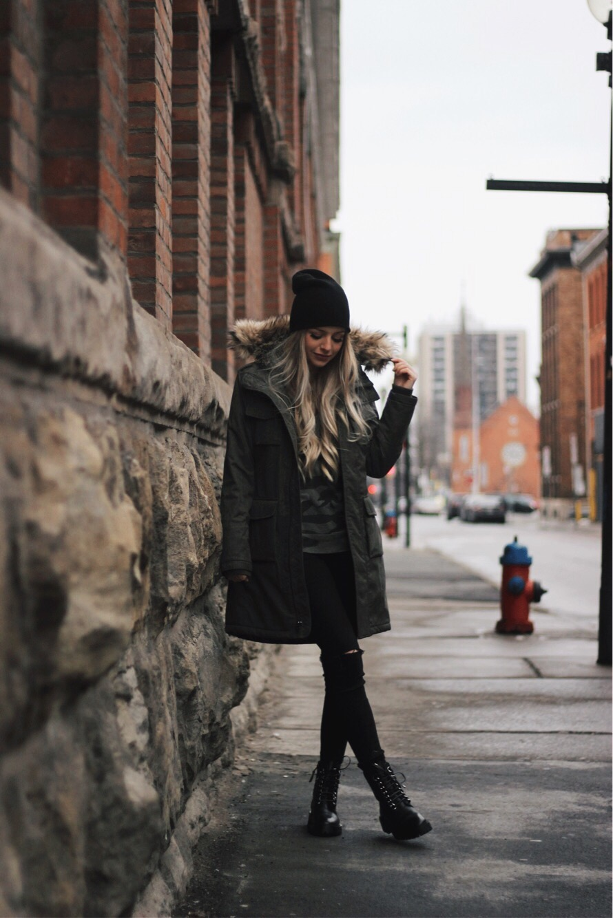 Casual Winter Outfit, Aritzia Parka, Alex Gaboury