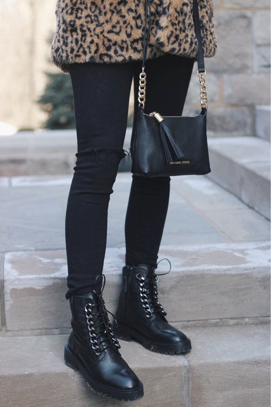 Details, Leather Coat, Black Denim, Combat Boots, Alex Gaboury