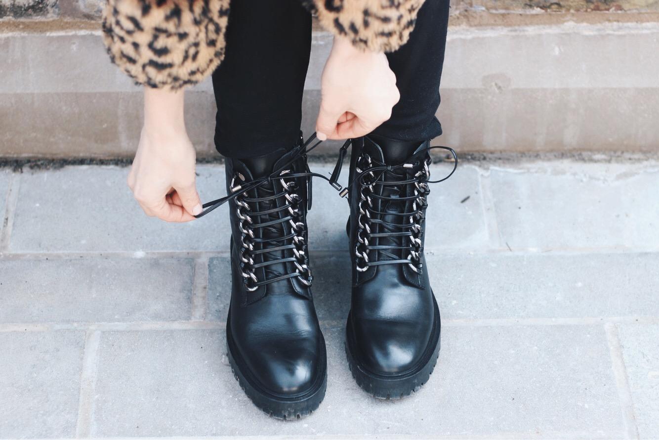 Black Combat Boots, Leopard Coat, Alex Gaboury