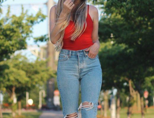 Alex Gaboury, Levi Wedgie Jeans, Red Bodysuit