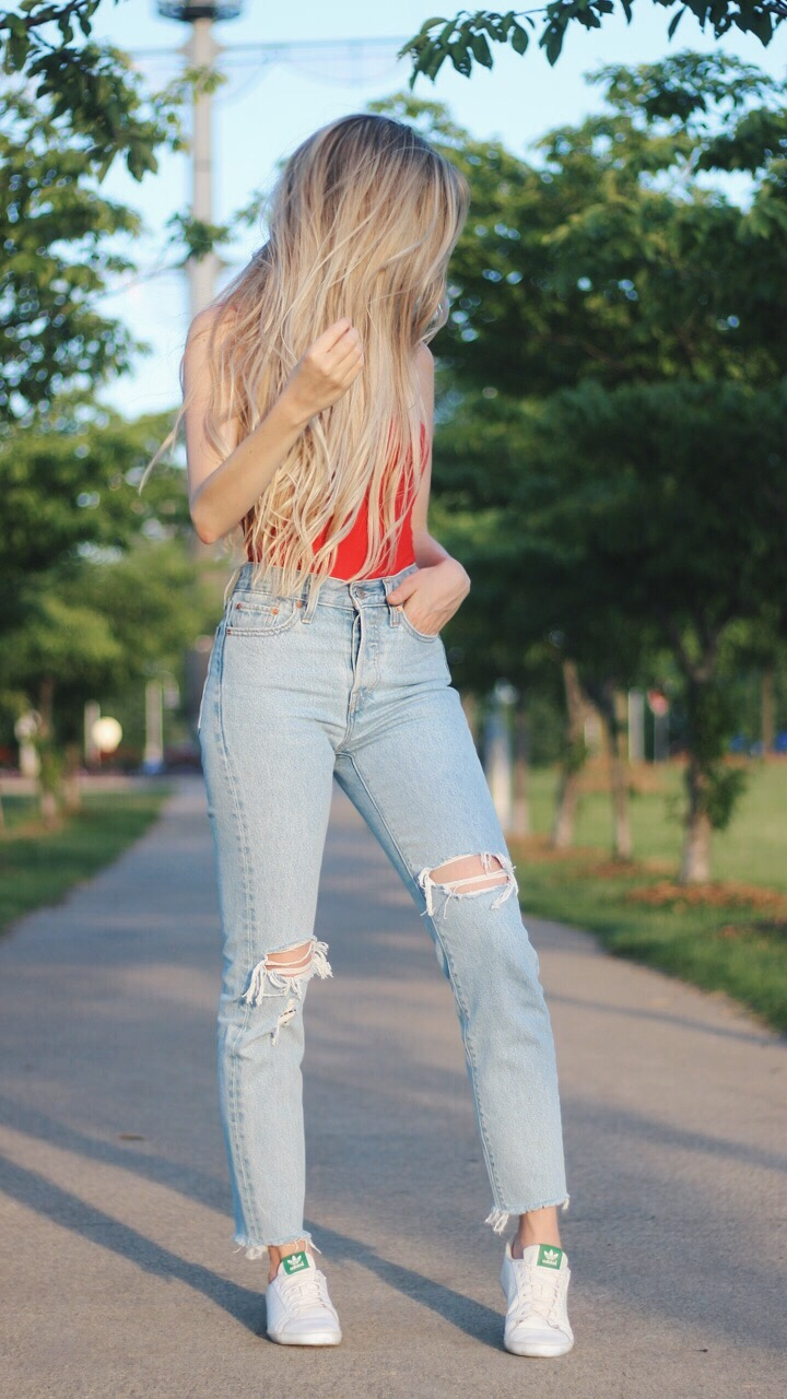 Alex Gaboury, Levi Wedgie Jeans, Red Bodysuit