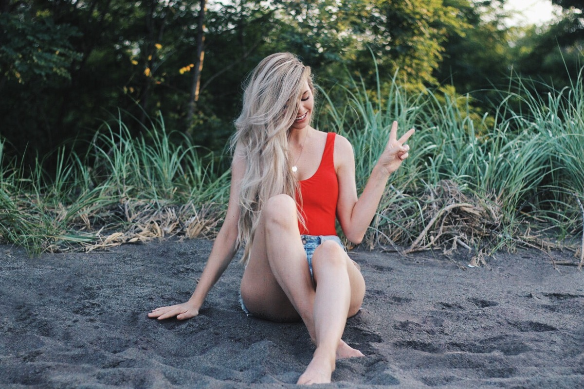 The Perfect Red One Piece Bathing Suit! Alex Gaboury