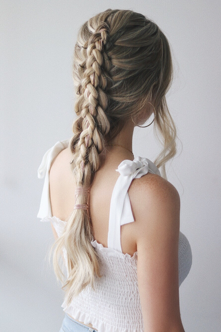 EASY FESTIVAL HAIRSTYLES STACKED BRAID www.alexgaboury.com